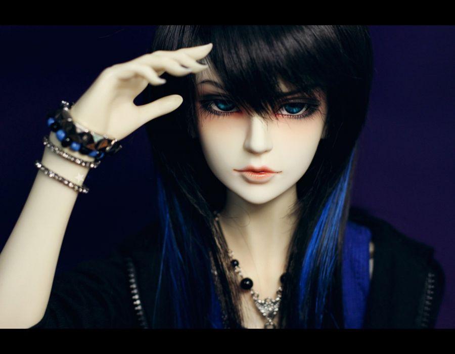 doll emo blue hair long wallpaper
