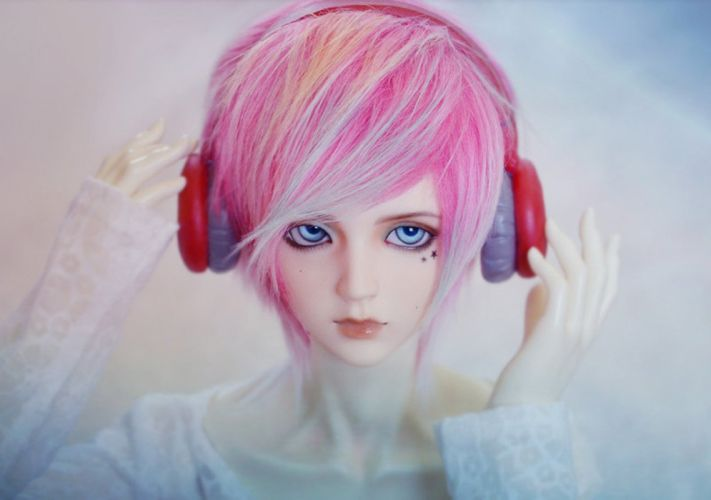 doll sound pink hair blue eyes wallpaper