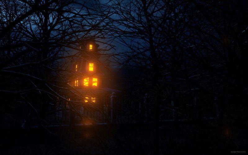 house trees forest dark light wallpaper