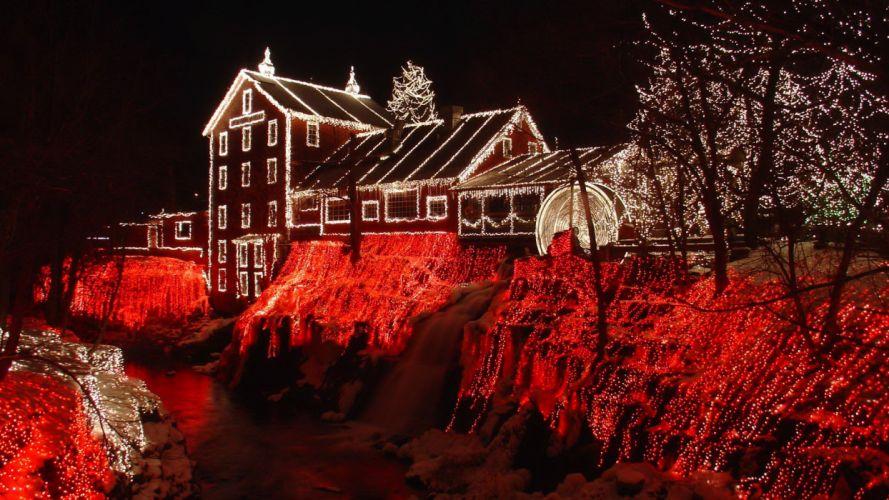 Christmas Lights Cliffton Mill Ohio red night wallpaper