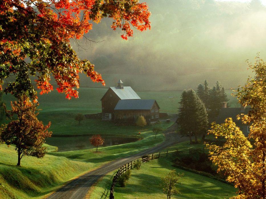 farmhouse tree sunshine house landscape wallpaper
