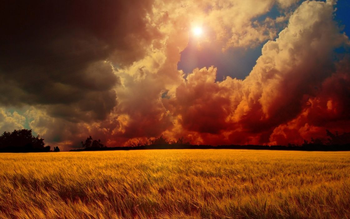 Landscape Cloud Sky Sun Manipulation Cgi Digital Art Field Wheat wallpaper