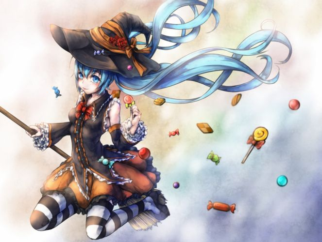 vocaloid2 anime girl candy halloween wallpaper