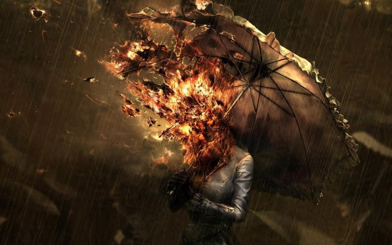 FIRE HEAD - surrealism umbrella rain fire wallpaper