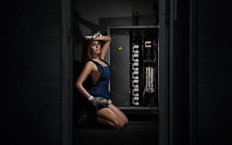 WOMEN AT WORK - electrician weaty overalls women cosplay model s wallpaper
