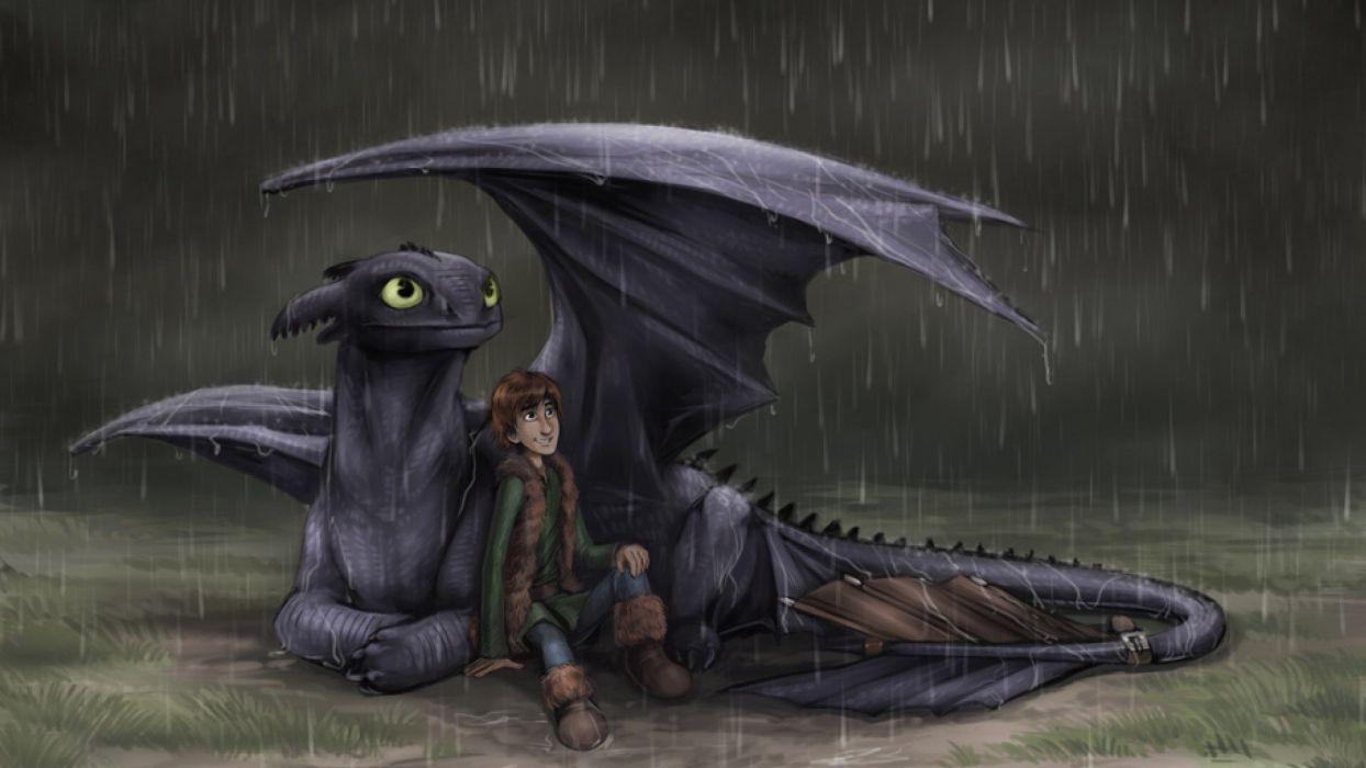 Raining Hiccup and toothless wallpaper