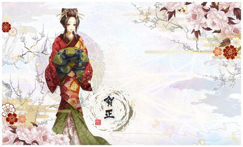yukimura-chizuru sakura kimono tree girl beauty wallpaper
