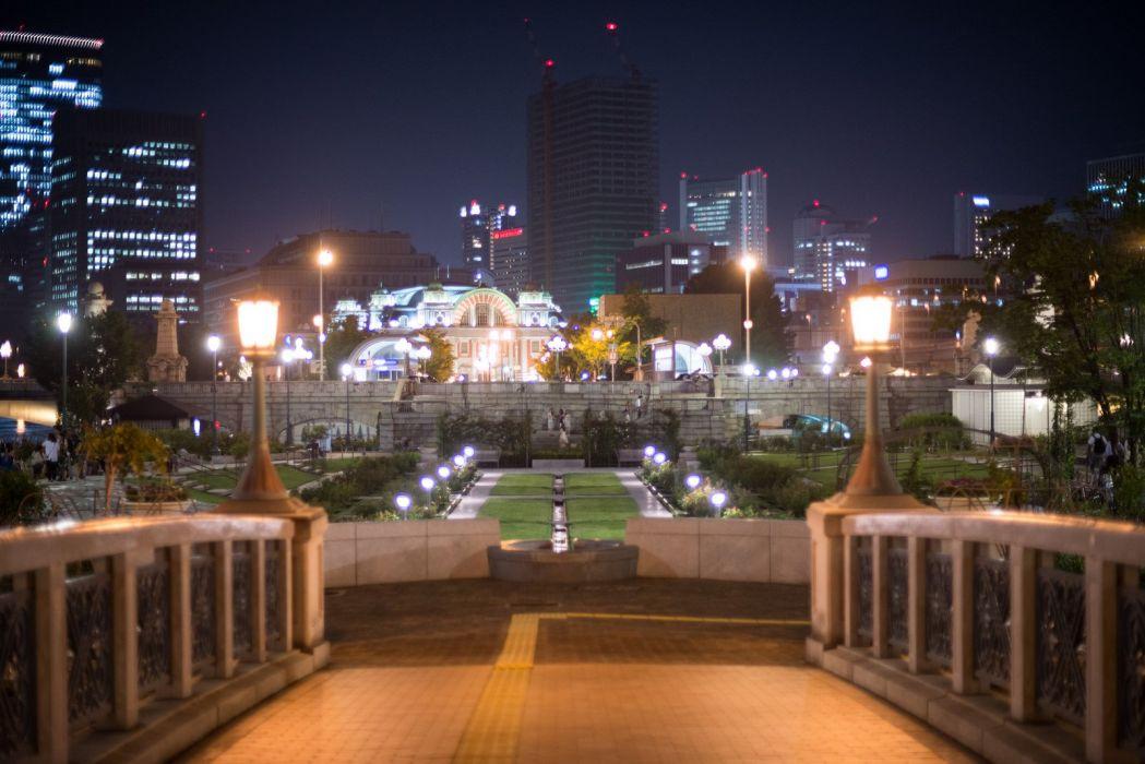 architecture asia Asian asians buildings City citylife cityscapes Japan skyline skylines skyscrapers night light osaka wallpaper