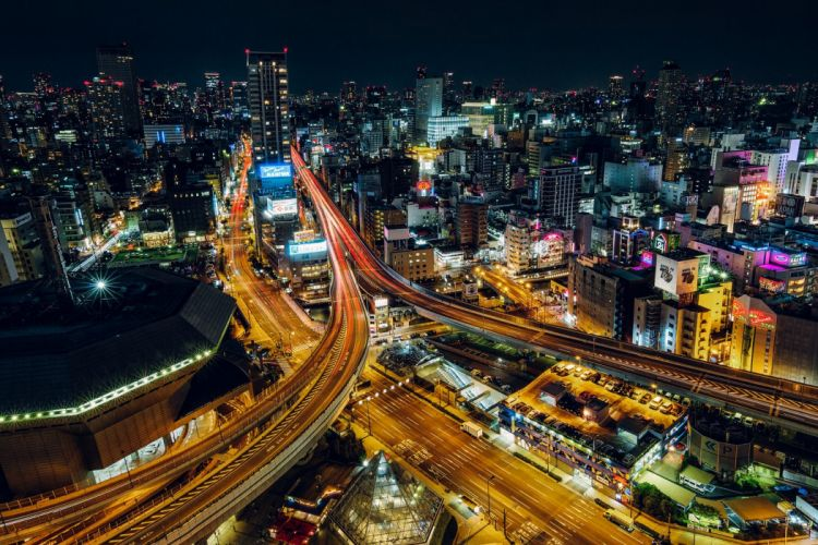 architecture asia Asian asians buildings City citylife cityscapes Japan skyline skylines skyscrapers night light osaka wallpaper