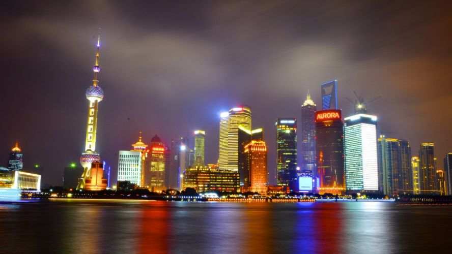architecture asia Asian asians chine china buildings Cities citylifes cityscapes Light Night skyline skylines skyscrapers bridges highways Shanghai wallpaper