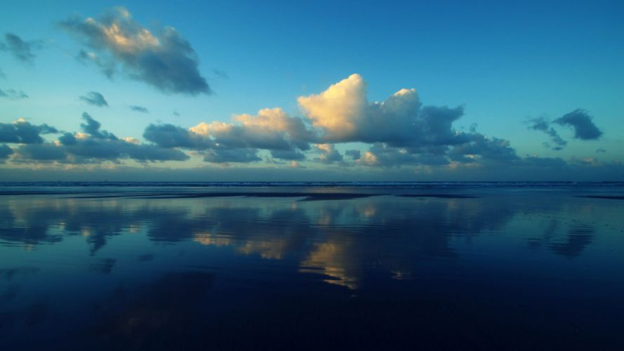 beaches clouds ocean Sea seascapes nature sky waves wallpaper