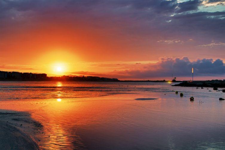 beach sky sunset sun trees lake clouds colour color sea landscape wallpaper