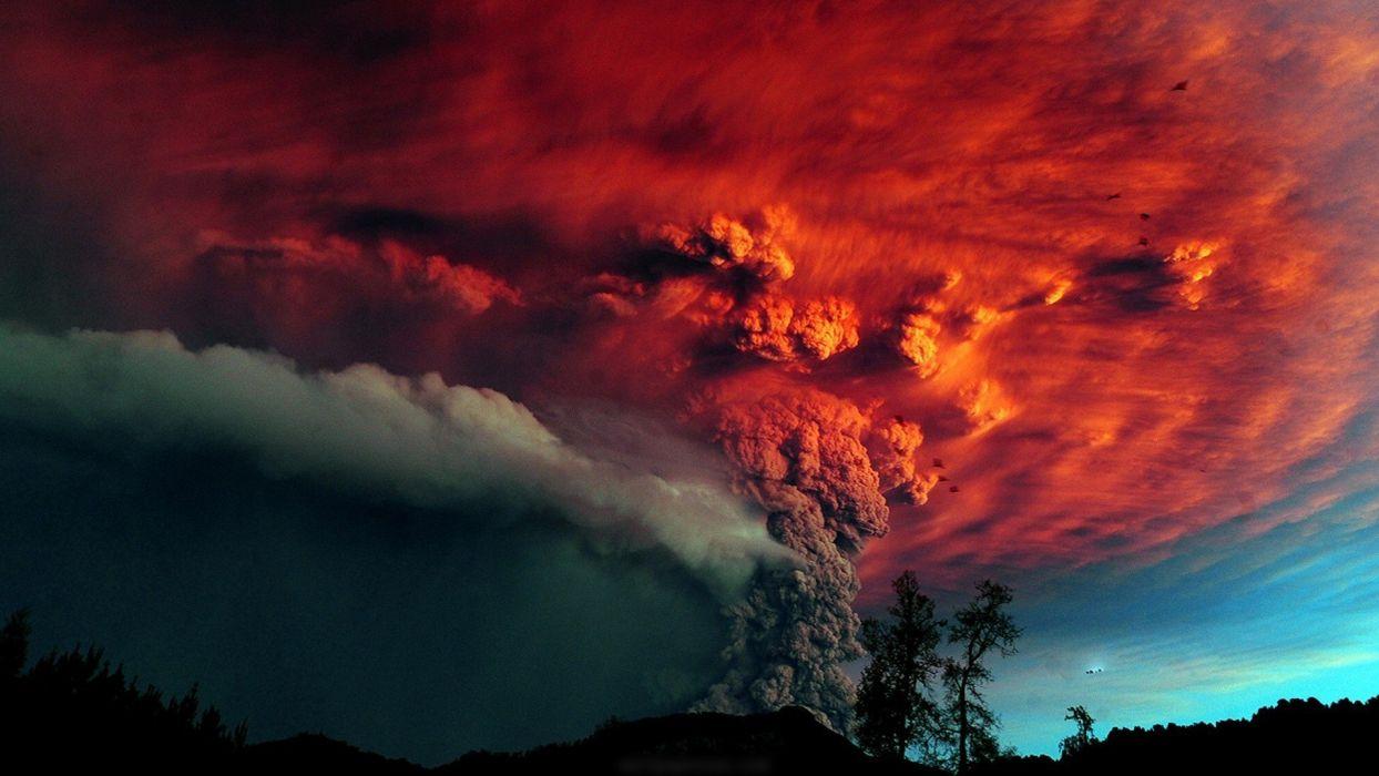 eruption red cloud sky tree wallpaper