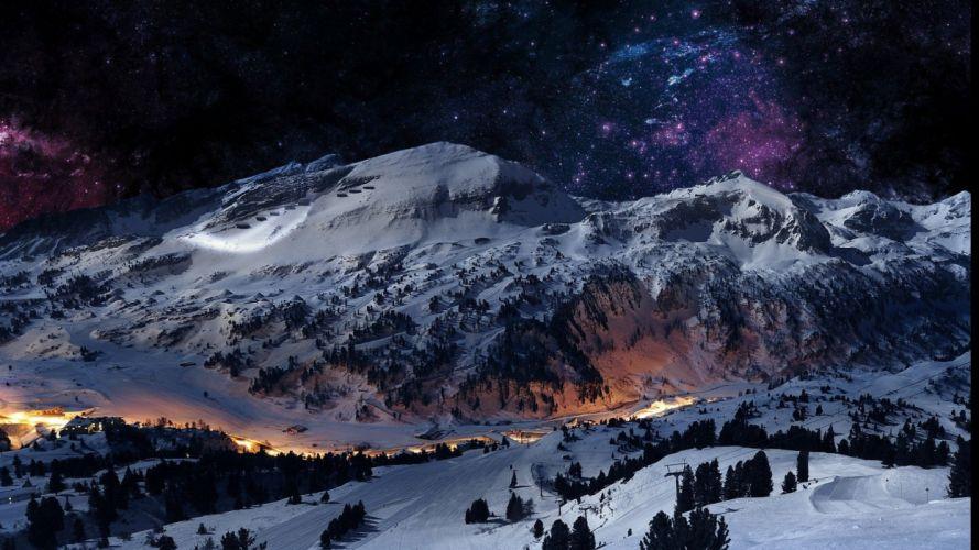 -beautiful-winter-mountain-star tree wallpaper