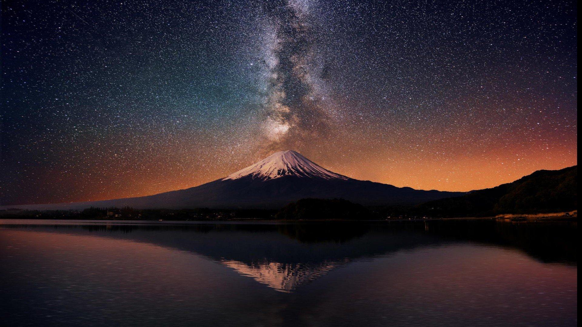 Milky Way Wallpaper 1920x1080 71 Images: -the-milky-way-over-mount-fuji-japan-stars Wallpaper