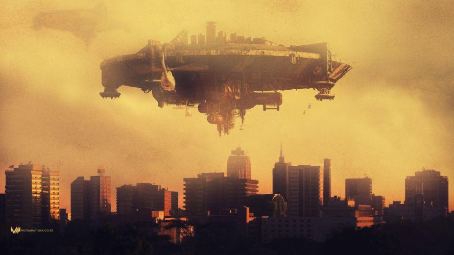 DISTRICT-9 sci-fi alien futuristic action thriller extraterrestrial nine district spaceship wallpaper