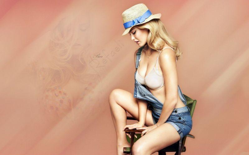 BAR REFAELI - girl blonde hat overalls jeans wallpaper