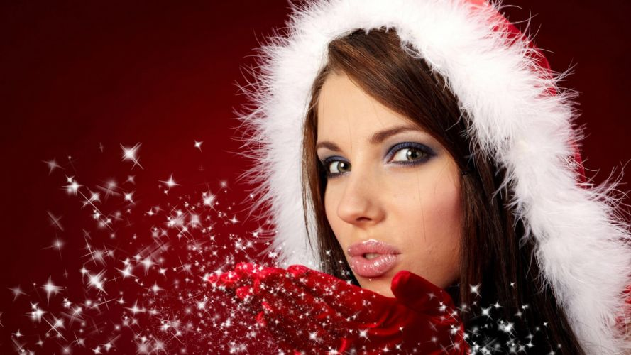CHRISTMAS - santa girl blowing kiss brightness brunette wallpaper
