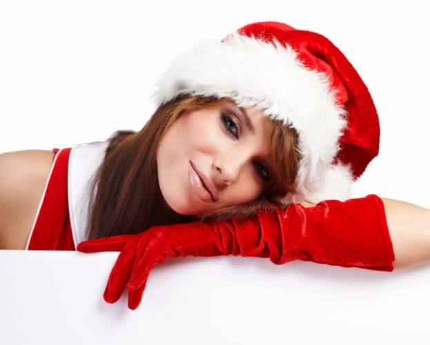 CHRISTMAS - santa girl bonnet glove wallpaper