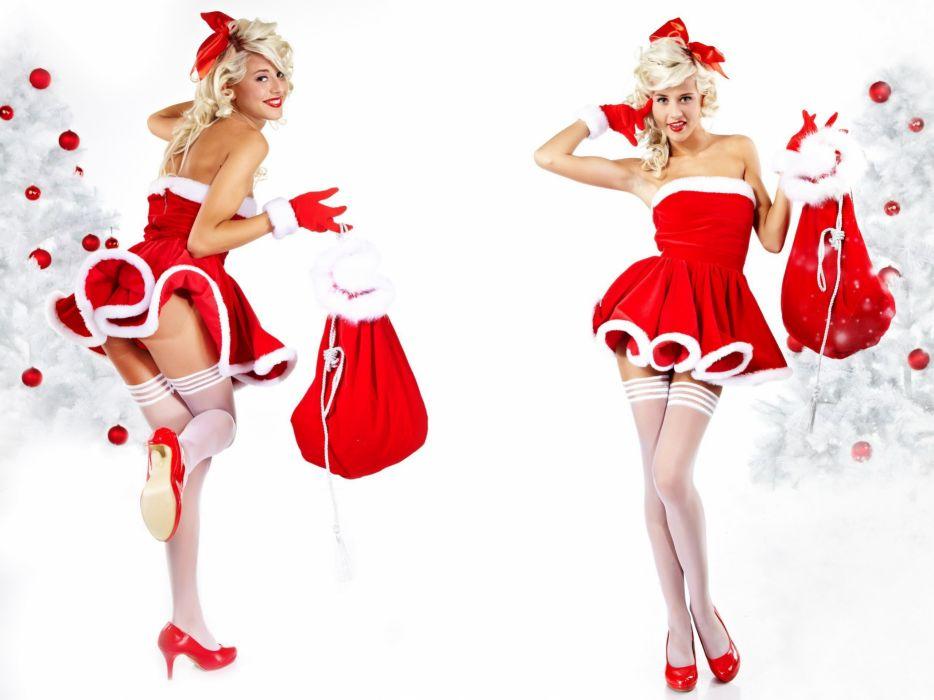 CHRISTMAS - santa girl gifts bonnet glove bag wallpaper