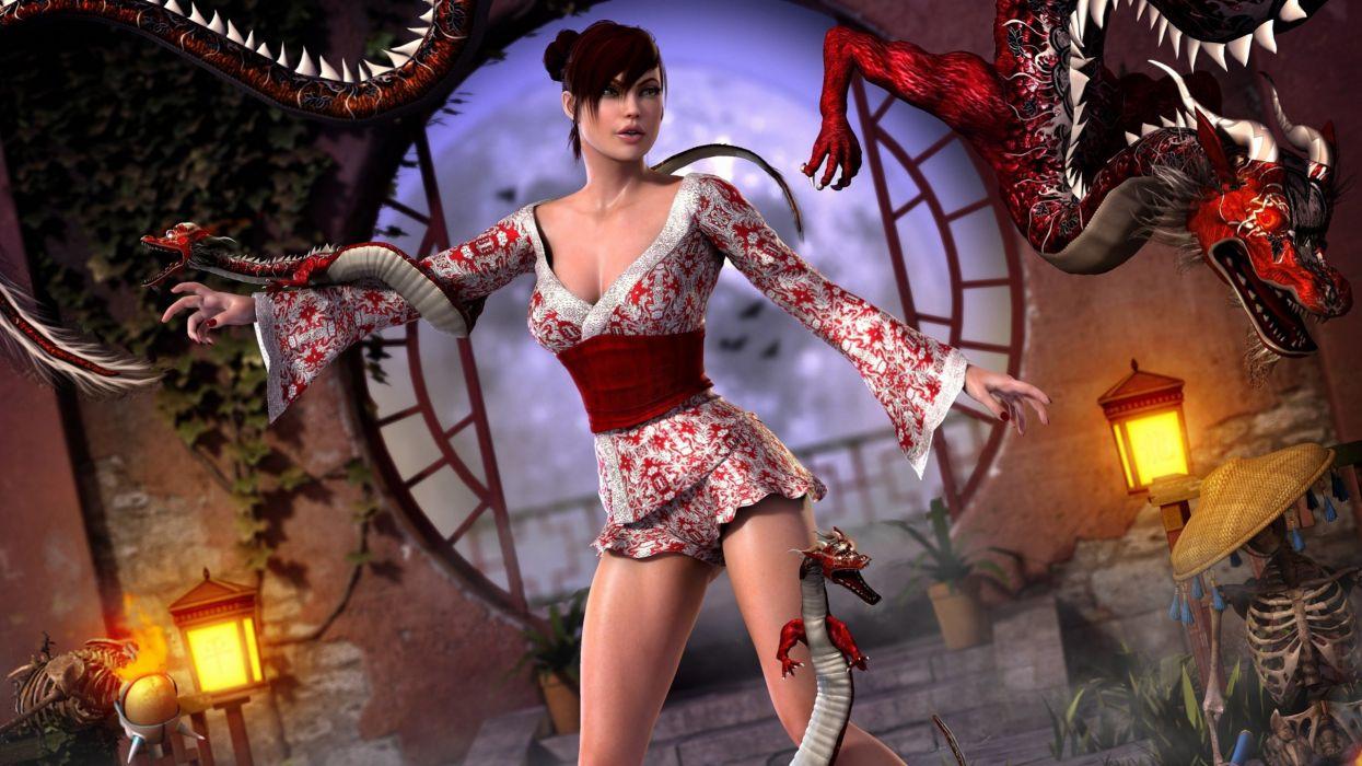 DRAGON - art 3D fantasy girl wallpaper