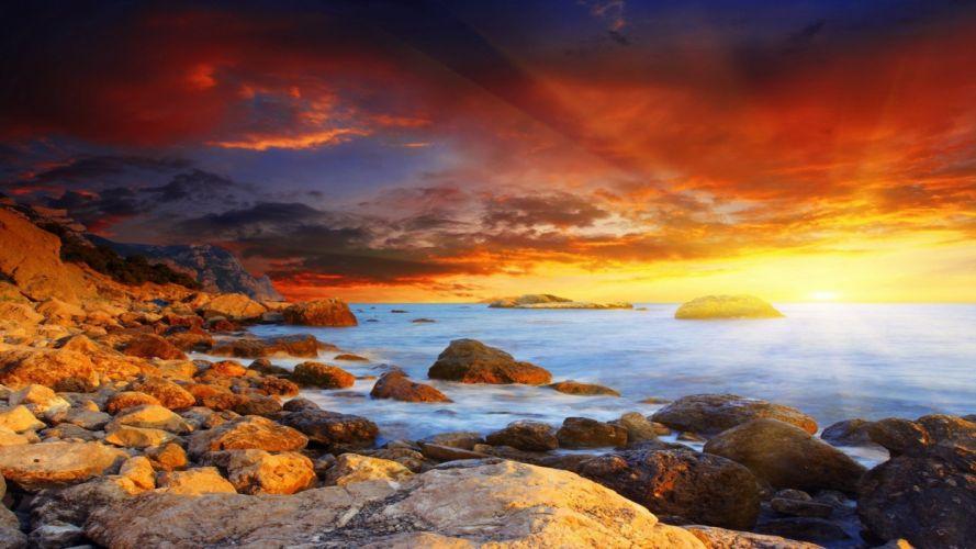 landscape sea sunset sun clouds sunlight sunshine wallpaper