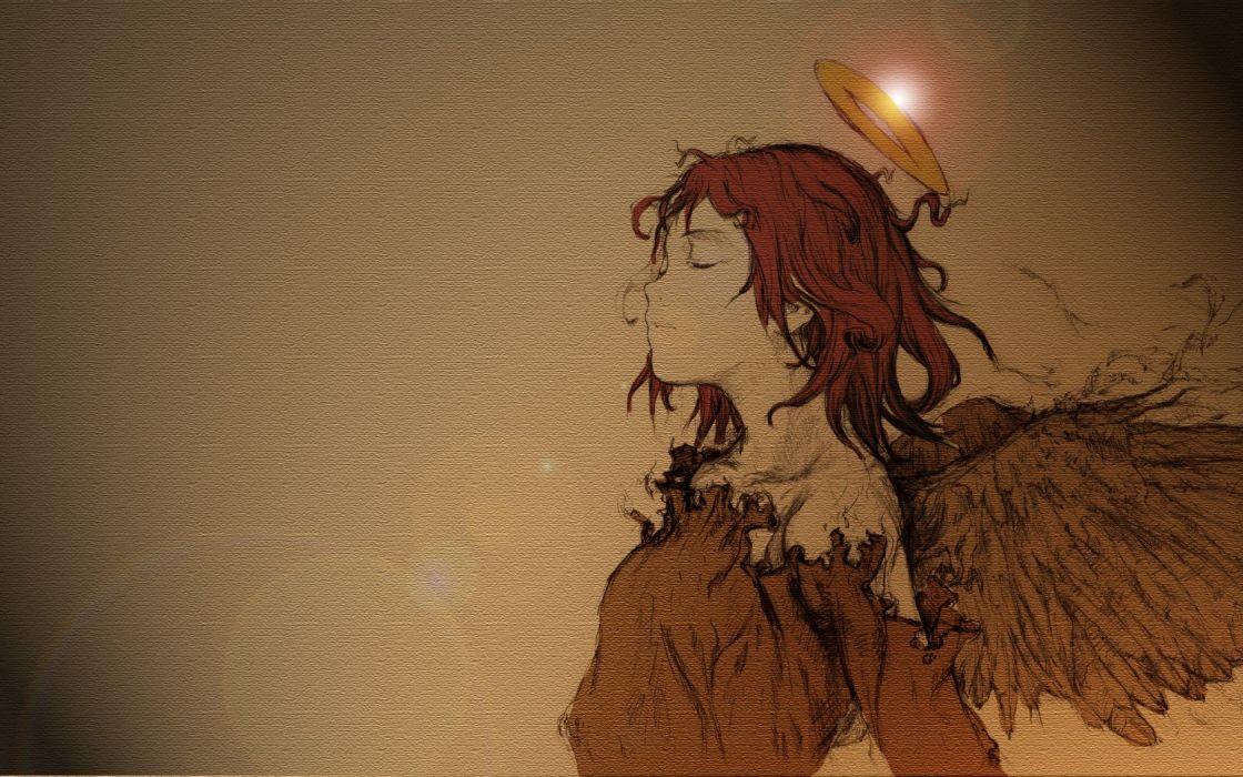 haibane renmei anime girl angel wing wallpaper