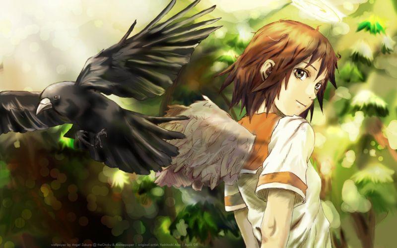 wings Haibane Renmei rakka anime girls wallpaper