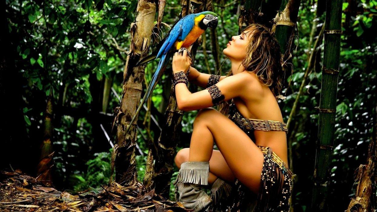 SENSUALITY - amazona pretty girl jungle parrot wallpaper