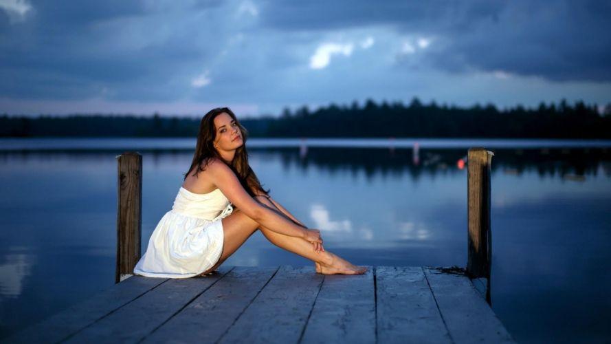 SENSUALITY - pretty girl dress dock dusk wallpaper