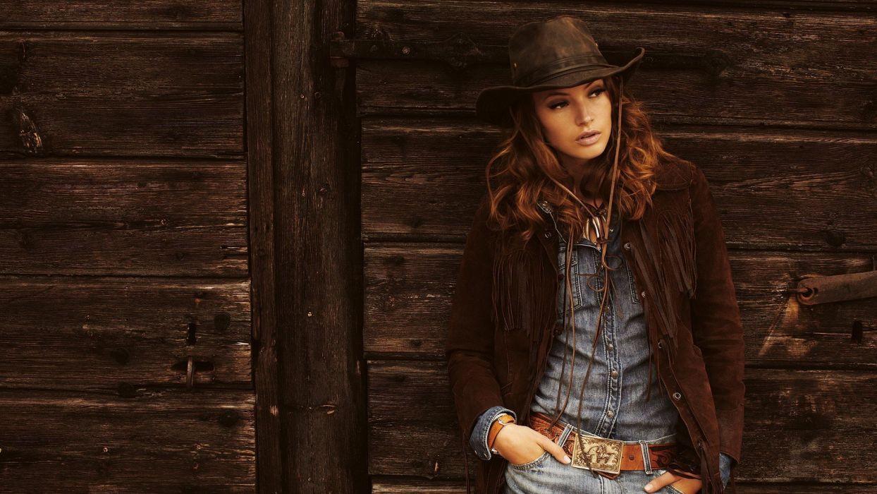 COWGIRL - girl brunette hat belt buckle jeans wallpaper