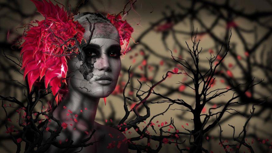FACE - art girl tree red leaves wallpaper