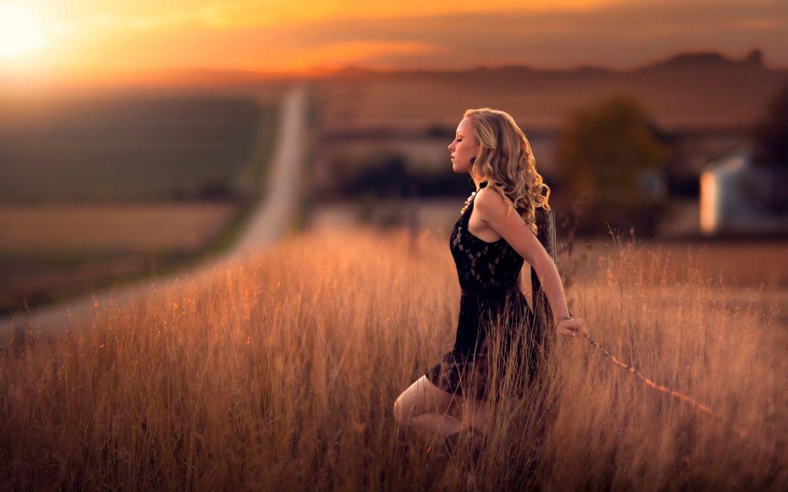 GIRL IN THE FIELDS - blonde road calm dusk fence wallpaper