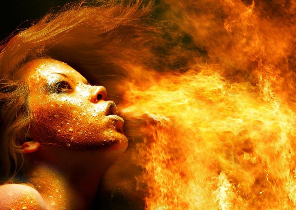 FIRE DANCING - girl blowing hair wallpaper