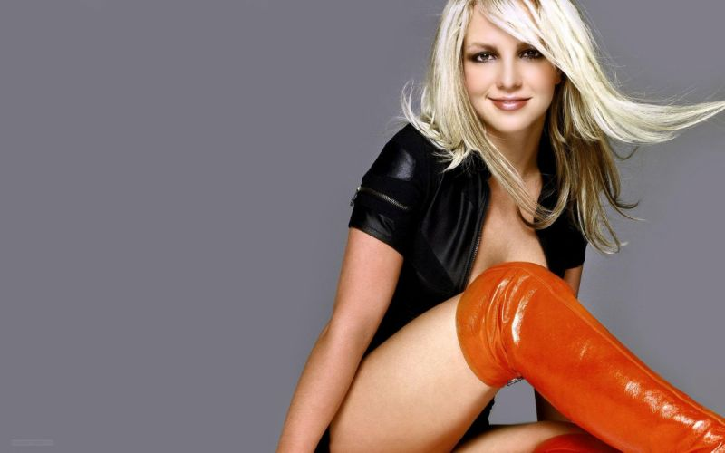 SENSUALITY - britney spears shows long leg orange boots girl wallpaper