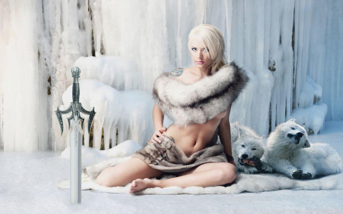 WARRIOR - fantasy girl sword snow ice wolves wallpaper