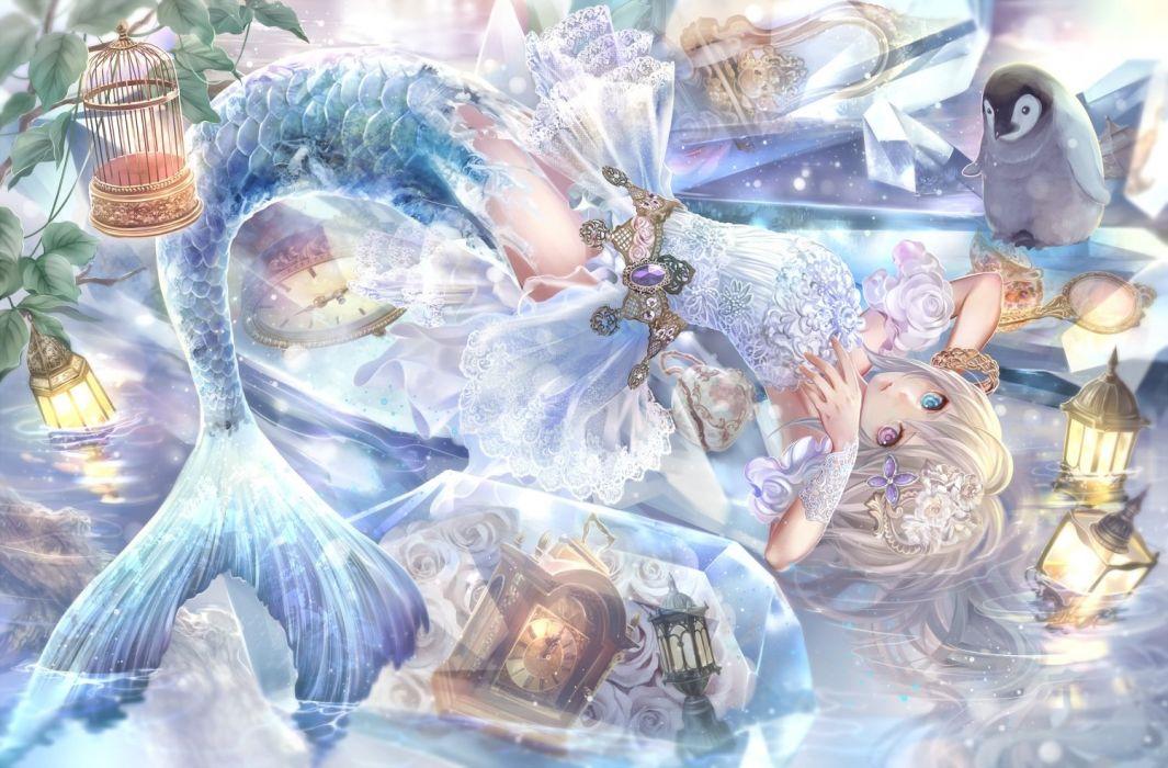 dress flowers leaves mermaid mirror original penguin pink eyes rose water wristwear wallpaper