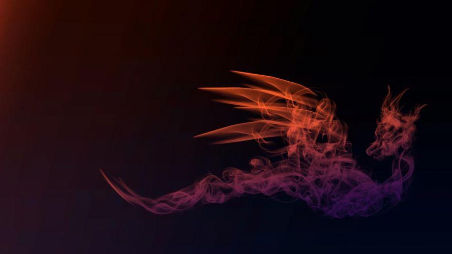 SMOKY DRAGON -red fractal wallpaper