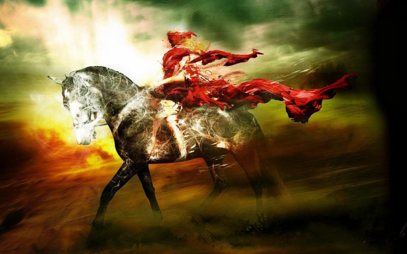THE RIDER IN RED - scrawl horse wallpaper