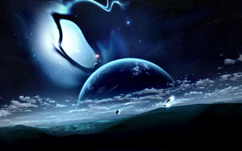 Earth space civilization space ships planets outer space fantasy galaxy wallpaper
