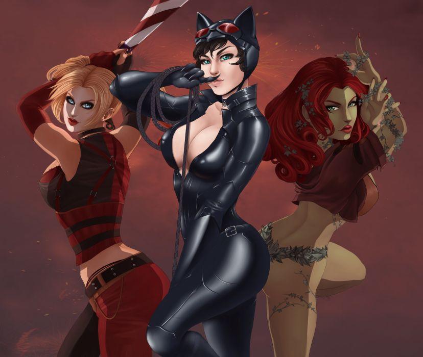 GOTHAM-CITY-SIRENS d-c dc-comics catwoman poison ivy harley quinn superhero gotham city sirens wallpaper