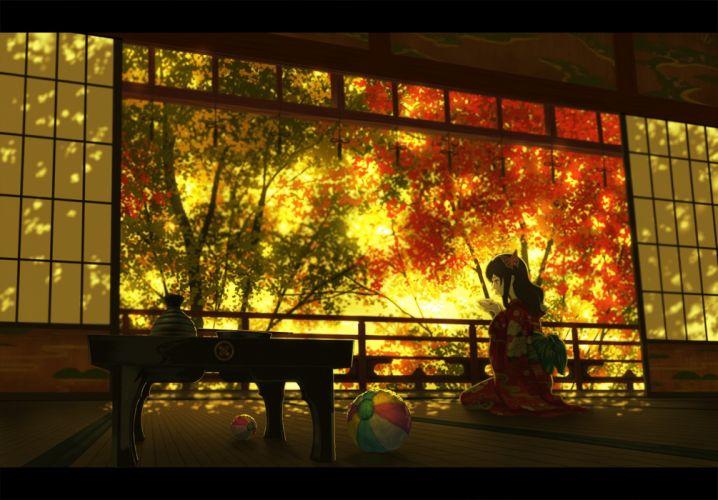 drink japanese clothes long hair nauimusuka original scenic tree wallpaper