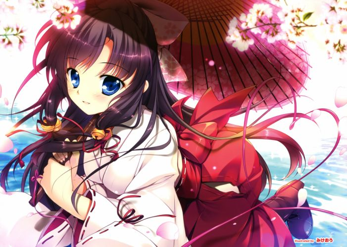 blue eyes cherry blossoms japanese clothes long hair mikeou miko original petals scan water wallpaper