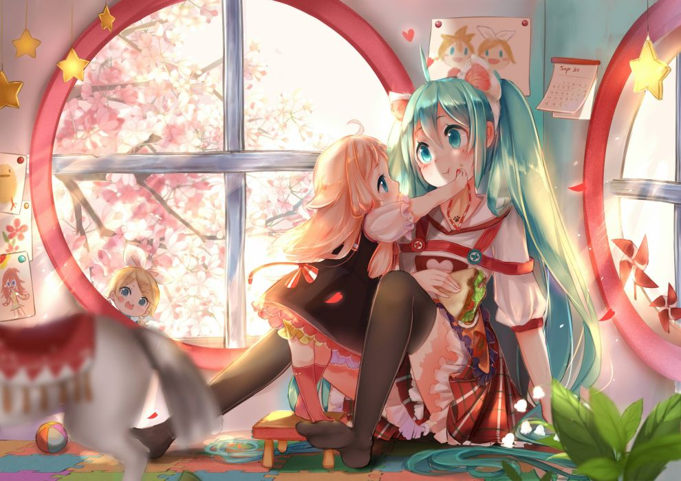 blonde hair cherry blossoms dress food hatsune miku ia kagamine rin loli lu (tabasa1991) thighhighs twintails vocaloid wallpaper