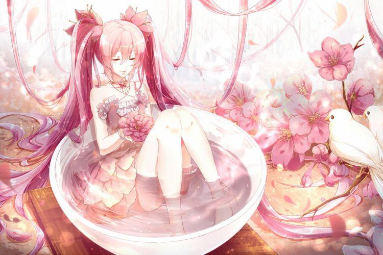 dress flowers hatsune miku long hair petals phino (jinko0094) pink hair sakura miku twintails vocaloid water wallpaper