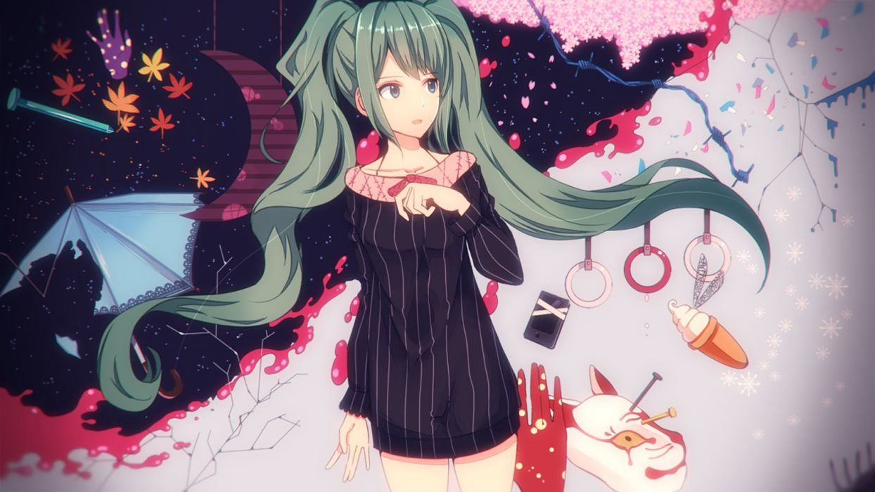 blue eyes green hair hatsune miku long hair shimashima twintails vocaloid wallpaper