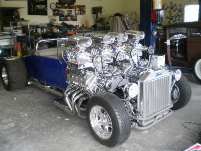 Double Trouble Hot Rod has two Ford Racing engine rods ford model-t blower retro wallpaper