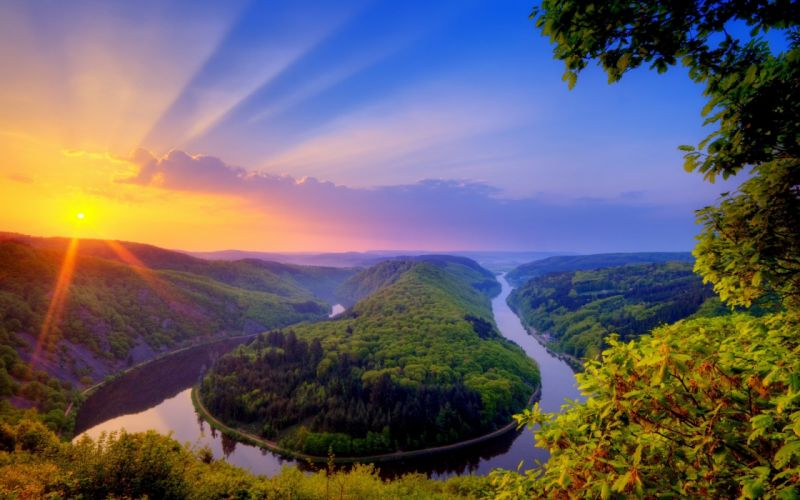 sunset landscapes nature trees forest rivers saars wallpaper
