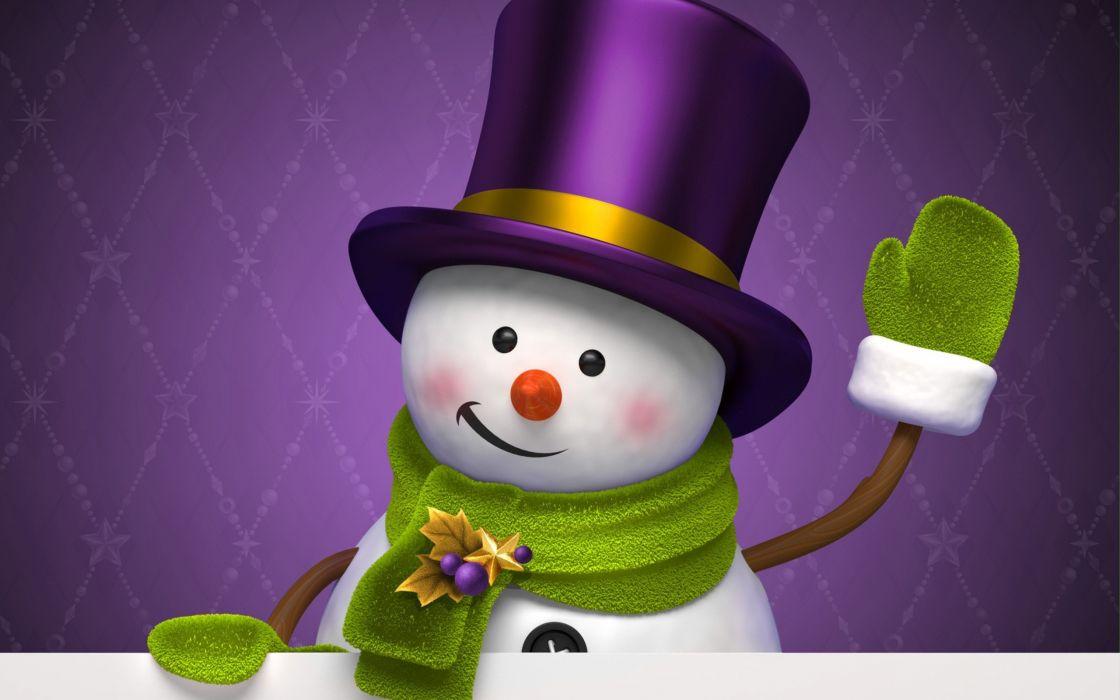 christmas winter new year snowman hat mitten wallpaper
