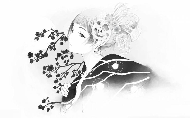 Girl sakura kimono wallpaper